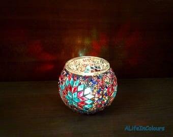 Handmade unique colourful glass mosaic candle holder, pencil holder, mosaic vase.