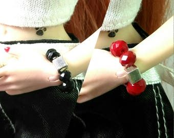 Fashion Doll Stretch Bracelet Jewelry - Red or Black Bracelet with Silver accent for Barbie, Fashion Royalty, Poppy Parker etc