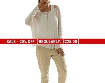 SALE White sheer Oversized top ,Transparent knitted Oversized shirt, White long sleeve blouse