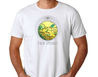 Palm Springs T Shirt, Travel Gift, Palm Springs Gifts, Christmas Gifts for Men Clothing Gift, Outdoors Gift, Unisex Vintage Palm Springs Map