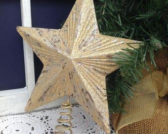 "8"" Distressed Gold Star Tree Topper, Metallic Gold Metal Star, Medium/Large Tree, Christmas Tree Holiday Decor"