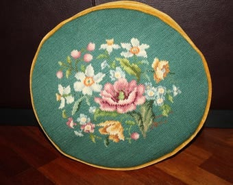 Vintage Needlepoint Roses and Flowers Pillow/Floral Needlepoint Pillow/Round Needlepoint Pillow Green w/Gold Velvet Back