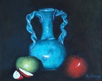 "Fine Art 8 X 10 Print of my  Original Oil Painting ""Blue Vase"""