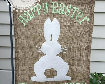 Personalized Easter Burlap Garden Flag; Bunny Garden Flag
