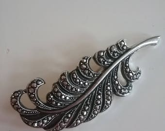 Marcasite-look Feather Plume Pin