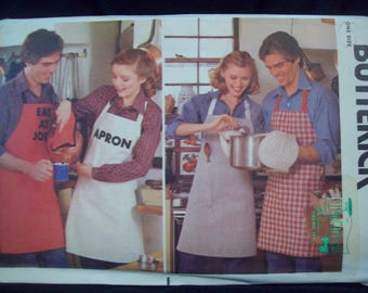 Vintage Apron, Oven Mitt, and Potholder Men and Women 1970s Quick Butterick Pattern 6663 Uncut One Size