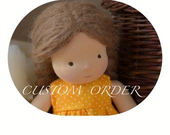 "Waldorf Doll 14"" Custom made, Straight, brushed mohair hair"