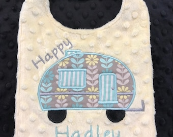 Yellow Happy Camper Bib, Camper Bib, Girls Bib