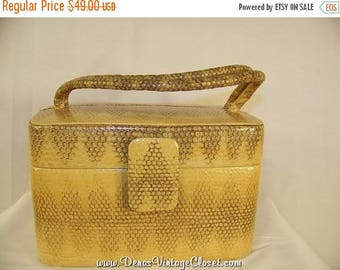 60% OFF Clearance Sale Vintage Katherine Kristi Yellow Reptile Box Handbag Purse