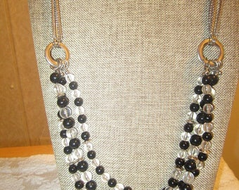 Vintage Talbots black and clear multi strand bead necklace, statement necklace