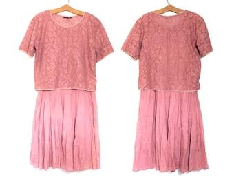 Vintage Pink Gauze Dress 90's Dress Minimalist Dress Pink Dress Med Hippie Dress Boho Dress Slouchy Grunge Festival Revibal 80s Dress