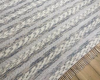 8x10 Rag Rug Blue And White Stripe