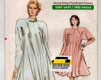 FF Vogue 7087 Plus Size Loose Fitting Flared Tent Dress, Long Sleeves Vintage Sewing Pattern, Misses' Size 20 22 24, Bust 42 44 46, UNCUT