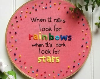 Wood Embroidery Hoop  When It Rains Look For Rainbows Embroidery Quote,Home Decor, Nursery Hoop, Embroidery Quote Wall Decor,Rainbow Pattern