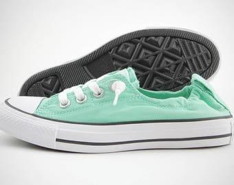 Mint Green Converse Shoreline Slip on Ladies Low Top Aqua Pistachio Custom w/ Swarovski Crystal Bling Chuck Taylor Rhinestone All Star Shoes