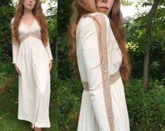 White Boho Maxi Dress with illusion Sleeves