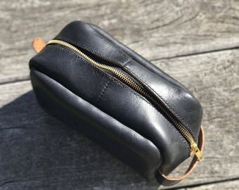 Men's Black CXL Horween leather toiletry travel/shaving bag. Made from Horween remnants