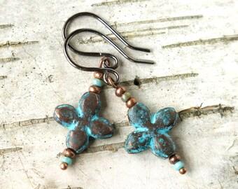 Turquoise copper earrings - verdigris cross flower & glass beads