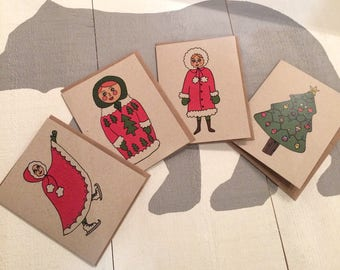 Holiday ladies and a tree greeting cards