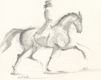 "Horse Art, Painting, Dressage, Original Watercolor by Anna Noelle Rockwell, ""Length of Stride"""