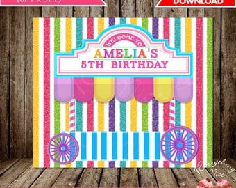 """Candy Theme 72"""" x 60"""" Happy Birthday Backdrop Banner Digital Download"""