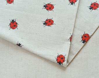 Red ladybird linen fabric 19,68 x 59 inch