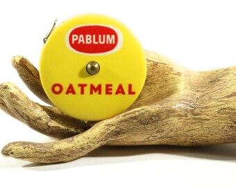Pablum Oatmeal Vintage Cloth Retractable Tape Measure - Advertisement Collectible - Vintage Cloth Tape Measure Yellow and Red