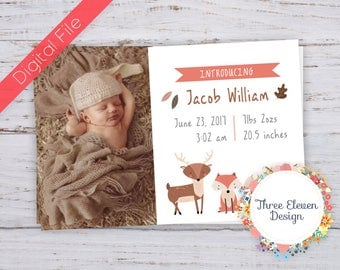 Woodland Printable Birth Announcement