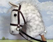 Hobby Horsing dapple grey larger hobby horse (stick horse) top quality with removable leather bridle. For older children and teenagers.