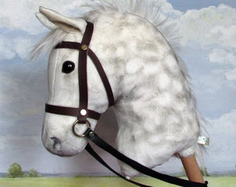 Hobby Horsing larger dapple grey hobby horse (stick horse) top quality with removable leather bridle. For older children and teenagers.