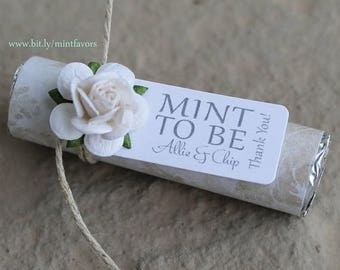 ON SALE Wedding favors - Set of 100 mint rolls - Mint to be favors with personalized tag - white wedding, modern wedding, elegant, champagne