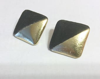 Vintage SQUARE LEATHER EARRINGS/Disco Gold Leather & Black Suede/Pierced/Post Back