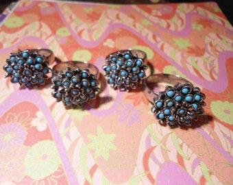 4 Silverplated Adjustable Blue Bead Flower Rings