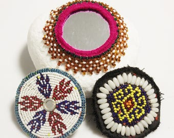 Tribal Beaded Patches from Afghanistan, Needle Craft Sewing Supplies, Jewelry Making Supplies, Ethnic Boho Gypsy Patches (AM71)