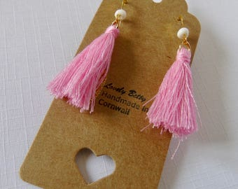 Pretty pink and gold tassel earrings