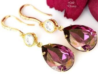 Purple and Gold Earrings Swarovski Lilac Shadow Crystal Purple Earrings Plum Pink Lilac Cubic Zirconia Earrings Bridesmaid Gift LS31HC