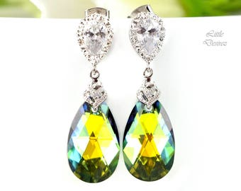 Swarovski Teardrop Earrings Green and Yellow Earrings Bridesmaid Gift Cubic Zirconia Sterling Silver Sahara Crystal Yellow & Green SA32P