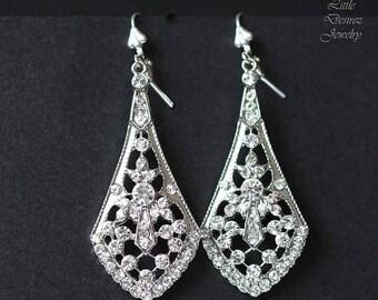 SALE Crystal Bridal Chandelier Earrings, Art Deco Style Silver Filigree Bridal Earrings, Vintage Style Rhinestone Wedding Earrings, SASHA
