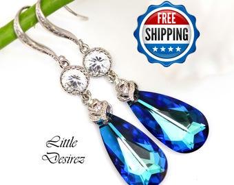 Swarovski Bermuda Blue Crystal Earrings Peacock Jewelry Blue & Green Earrings Wedding Jewelry Bridal Sparkly Teardrop Earrings BB33HC
