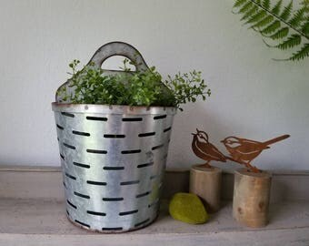 Galvanized Metal Olive Planter Wall Planter Olive Bucket Farmhouse