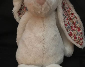 "Vintage Bunny Rabbit, Vintage Toy ""Jelly Cat of London"" Rabbit Stuffed Animal, Vintage Collectible Rabbit, Easter Bunny, Cottage Chic, Baby"