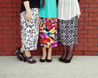 Victoria's Bliss~ Girl's MODEST Knit Pencil Skirt ~ Modest Skirt, Girls Skirt, Knit Skirts, Modest Clothing ~ Made to order