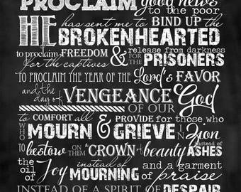 Scripture Art - Isaiah 61:1-3 Chalkboard Style (long format)