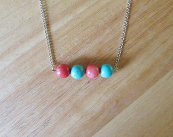 Turquoise and Red Jade Beaded Bar Necklace