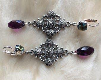 "Baroque Byzantine earrings, antique silver and Crystal swarovski ""Aya Sofia"""