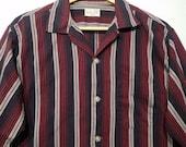 1950s Shirt / M - L / Gradation / Rockabilly / Loop Collar / Stage / Jerry Lee Lewis / Elvis / Gradient / Red & Black / 1960s Shirt / RnR