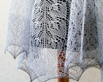 Hand knit linen shawl  - natural grey linen summer shawl