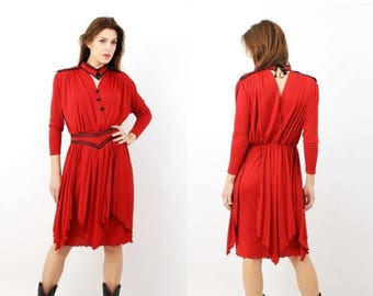 SALE Vintage Red Belted Dress