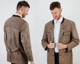 SALE German Traditional Blazer, Leather Blazer, Trachten Blazer, Dirndl Blazer, OctoberFest Blazer, Bavarian Blazer, Man Blazer, Khaki Blaze
