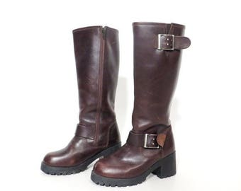 25% OFF Vintage Size 36 Brown Leather Chunky Heel Boots